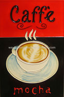 hand painted coffee shop cup ceramic hanging painting picture