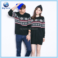 Fashion couple sweater christmas sweater wholesale, jacquard pullover sweater