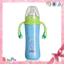 2015 baby care China manufacture stainless steel feeding bottle with spoon for baby