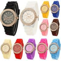 2015 Luxury Fashion Lady brand watch GENEVA rose gold Diamond Quartz Silicone Jelly watch for women gift