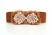 New Lady Fashion Pearl Lace Bow Belt Women Strap Elastic Wide Belts stretch Dress Decoration