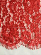 Rosso 100% nylon tessuto di pizzo per abiti signora