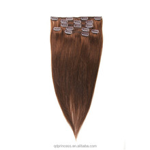 Wholesale Clip In Hair Extension REMY Cheap 100% Malaysian Human Hair Brown Color #4 Clip In Hair Extension Fast Shipping
