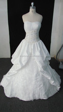 Arab style strapless A-line satin wedding dress of beaded decorated lace up down in back