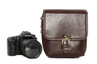1356 Casual Small Coffee PU Leather DSLR Camera Bags For Nikon Cannon Camera Case