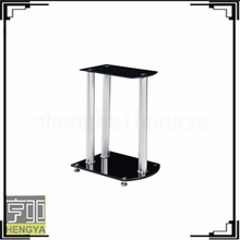 hot sale wheels cheap coffee table with black painting tempered glass