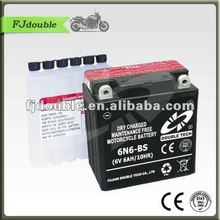 Dry charged motorcycle battery 12v 6ah pack 6N6-BS(6V 6AH)