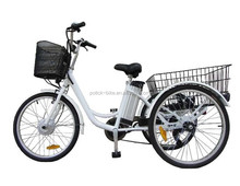 "24"" 250W 36V lithium battery adults electric tricycle /3 wheel electric motor tricycle bike"