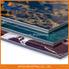 PVDF aluminum sandwich panel /acm sheet/ marble alike acp panel