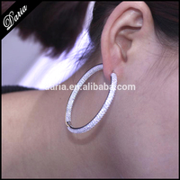 Latest Round Fashion Earring Designs Micro Pave Setting CZ 925 Sterling Silver Hoop Earrings Wholesae