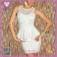 Sexy vestido de encaje de flores de roza o-cuello Peplum Mini vestido mini vestido de noche atractivo PP2204
