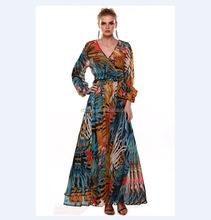 C21835B Wholesale Alibaba Hot Sale Tropical Rainforest Dresses Long Puffy Dresses