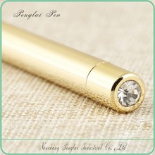 2015 Business Gifts Metal Ballpoint Pen golden customized pen crystal blue ink unique pen design