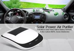 Solar Power Air Purifier - Polysilicon Solar Panel, Built-in Battery 600mAh, Active Carbon HEPA, Ozone Disinfection