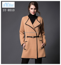 fashion long style ladies 100% wool coat and waist slim cashmere coat for girls with waistband winter coat