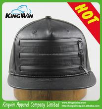 5-panel black PU leather fashion snapback cap with zipper 2015 Hot Sale