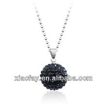 wholesale black choker titanium steel chain shamballa ball necklace