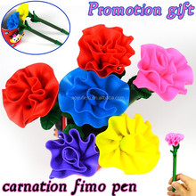 New stationery products school office novelty promotional ballpoint pen carnation rose flower shape polymer clay pen pencils