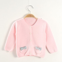 Knitted sweater with pockets cotton fabric cardigan baby wear