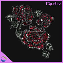 fancy rose design custom rhinestone transfer for T-shirts,jeans