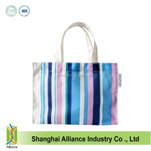 OEM Cheap Nylon Full Printing Women Stripe Small Size Hand Bag,Women Outdoor Tote Shopping Bag