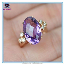 oval purple single check facetted fake gemstones