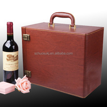 Item HSP106 leather wine carrier ,6 bottle wine box,red wine bottle box