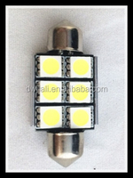 HOT festoon2015 led double pointed lamp feston light interior car dome roof 12V36mm 6smd 5050*2