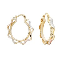 2015 New Design Cheap Chinese Earring Jewelry , Wholesale Fashion Women Tri Tone Gold Plated Hoop Earrings