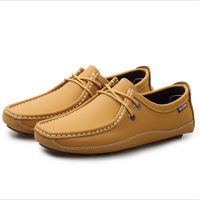 Korean style brown color men leather shoes casual shoes