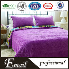 Cheap purple velvet King size fabric comforter set made in china
