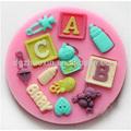 3d en forma de cartas de silicona molde de pastel de fondant, decoración de la torta herramientas, jabón, moldes de vela