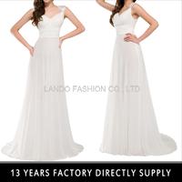 2015 Latest Sleeveless Formal Dinner Gown Long Sexy White Chiffon Long Evening Dress GK000007