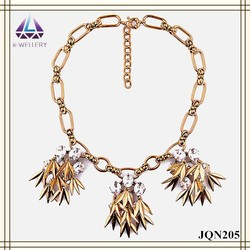 Antique Gold Chain Necklace With Antique Gold Leaves Pendant With Clear Round Beads Vintage Charm Necklace
