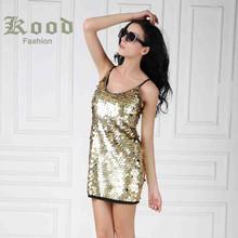 New fashion gold paillette sequin spaghetti strap sleeveless sexy dress mini short design