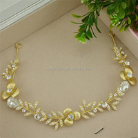 elastic rhinestone pearl fancy wedding Jewelry handcraft golden alloy bridal hairpeice headband