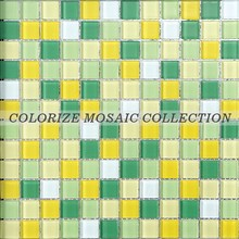 Green fresh color crystal glass mosaic tile for kitchen tile (CM002)