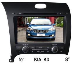"(for KIA K3) 8"" HD digital in-dash car GPS DVD player, with TV,radio, bluetooth, iPOD"