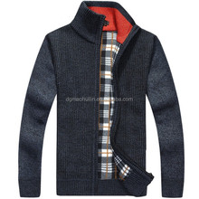warm cashmere mens sweaters thick cardigan winter sweater with zipper fornt and stand collar pattern