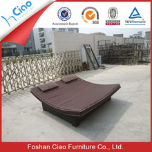 Double sun lounger rattan outdoor furniture rattan sun bed daybed