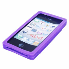 Purple Silicone Cassette Tape Case/ Skin/ Cover for Apple iPod Touch 4 mobile phone