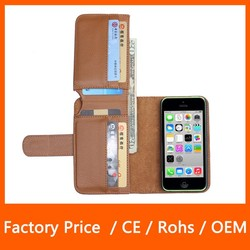 New Arrival Litchi Texture Multi Function Wallet Design PU Leather Case for iPhone 5C