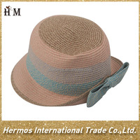 Hand made straw hat cheap multi color paper hats with bowknot