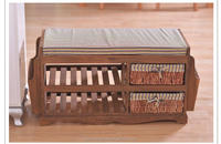 Trade assurance Korea stely wood storage bench / chair with wicker baskets