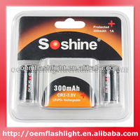 Factory Price Soshine LiFePO4 CR2 3.0V 300mAh Protected Rechargeable Battery (2 pcs)