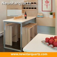 White quartz laminate countertop bar top