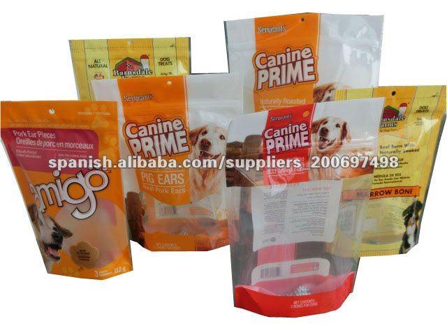 Impreso de pie inferior con bolsa de alimentos para mascotas de la cremallera para el perro, gato