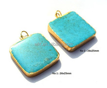 Gold Electroplated Edge Turquoise Square Pendant, Gold Layered Single Bail Pendant, Gemstone Pendant WT-P204