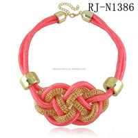 women female fashion costume jewelry two 2 tone metal braided twisted chunky necklace