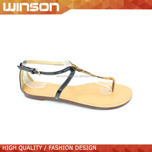 High quality beautiful ladies flat sandal with leather sole
